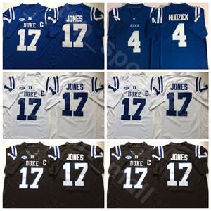 Duke Blue Devils College Football 17 Daniel Jones Jersey Hommes 4 Myles Hudzick équipe Couleur Noir Bleu Blanc Université Cousu de haute qualité