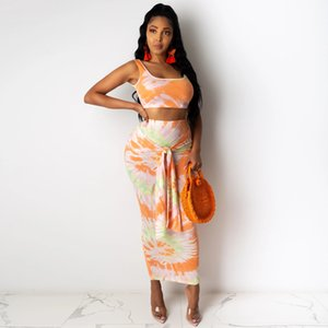 Sexy Womens Two Piece Dress Suits Fashion Tie-dye Camisole Lace-up Bag Hip Skirt Two-piece Suit Vest + Skirt with Bow 2020 Hot Sale