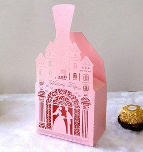 50шт замок Bride Groom лазерной резки полых конфеты коробки с лентой Сладких свадеб пользы для гостей свадебного подарка партии Box Supplies AUQw #