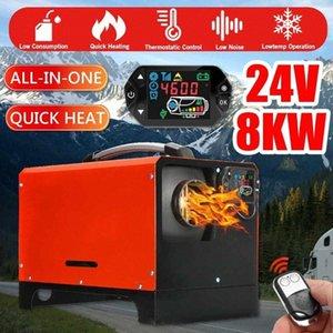 24V 1-8KW Adjustable Alles in einem Diesel Air Car Heizung New Red LCD-Schalter + Fernbedienung Integrierte Maschine für Van Boot RV gfak #