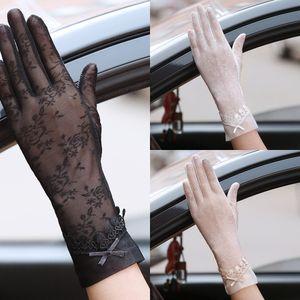 Ice Silk soleil épreuve épreuve UV des femmes manches conduite mince couverture de bras en dentelle Conduite écran tactile extérieur dentelle antidérapante