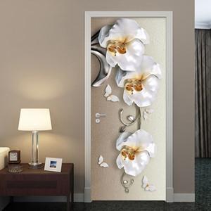 PVC Self-Adhesive Waterproof Door Sticker European Style 3D Stereo Butterfly Orchid Flowers Mural Wallpaper Luxury Wall Stickers T200715