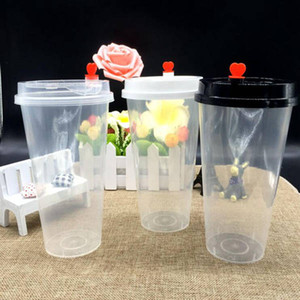 500ML Disposable Plastic Cups for Party Drinking with Lid Transparent Milk tea Cups Fashion Thicken Heat Resisting Cold Hot Drinks Mug