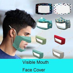 DHL Expédition PET Lip Masque anti-buée transparent Masques Coton Masque Masques Deaf Mute solide couverture visible bouche visage couleur 8 Styles DHB458