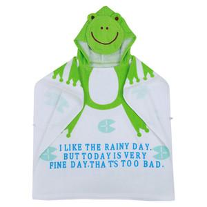 100٪ القطن شاطئ الطفل ثوب الطفل حمام مناشف الشاطئ عباءة الرأس الرضع الكرتون الحيوان مقنع الطفل منشفة حمام (ضفدع)