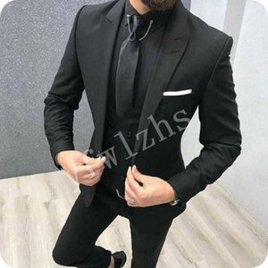 Handsome One Button Groomsmen Peak Lapel Groom Tuxedos Men Suits Wedding Prom Dinner Best Man Blazer(Jacket+Pants+Tie+Vest) W258