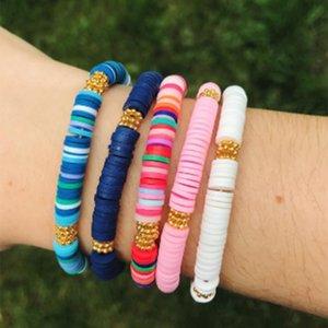 2020 Fashion Women Bracelet Bohemian Polymer Clay Braslet For Girl Femme Elastic Bracelets Charm Accessories Best Friend Jewelry