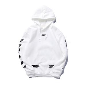 Via OFF-dipinte freccia Crow strisce oblique hoodie allentato più velluto maglione gli uomini e le donne bianche paio coat90IJ