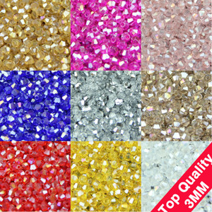 3mm 200Pcs Aaa Bicone Upscale Austrian Crystals Beads AB Color Plating Loose Bead Bracelet Jewelry Making Accessories Diy