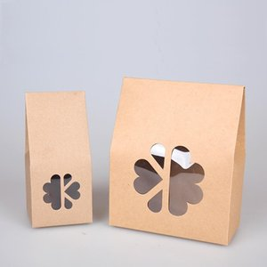 20pcs lot- big small size Stand up kraft paper gift box with clear window Cookies Candy storage box DIY Baking packaging