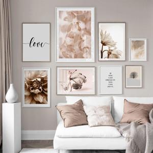 Modern Pembe Çiçek Petal Dans Kız Wall Art Canvas Resimler Poster Salon Ev Dekorasyonu için İç Galeri Baskı Boyama