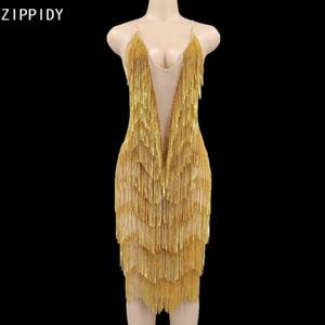 Bling Pedras Ouro Fringe malha Backless mini vestido de aniversário Comemore Vestido Cantora DJ Prom Mostrar Youdu