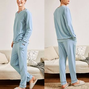 INCERUN Men Leisure Pajamas Sets Men Nightwear Suit Long Sleeve V Neck Sleepwear Long Pants Solid Color Comfortanle Homewear 5XL