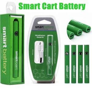 Hot Green Smart Cart battery 380mah preheat vv ego 510 thread battery with usb charger blister box kit for empty vape pen cartridges