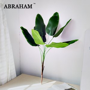 82cm 9fork Large Artificial Musa Tree Plastic Palm Leaves Fake Tropical Green Plant Canna Foliage Branch for Home Party Decor