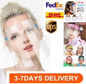 US Stock Safety Kids Adult Face shield Transparent Full Face Protective mask Cover Film Tool Anti-fog Premium PET Material Face Shield