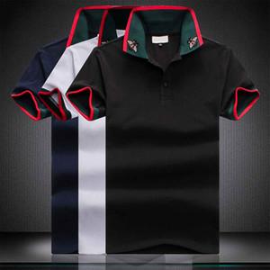 новый 2020 Классических мужских дизайнерского Polos полосатой одежды мужчина ткани письма поло футболка воротник случайных футболки тройник Размер M-4XL