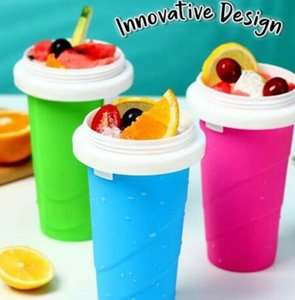 DIY Homemade Ice Cream Smoothie Cup With Straw Magic Pinch Smoothie Maker Travel Camp Portable Silicone Smoothie Cups Drinkware GGA3400-3