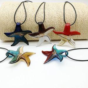 Бесплатная доставка Оптовые Горячие моды 5шт Starfish цвет смешивания серебряная фольга Lampwork стекла ожерелье Подвески, ожерелье