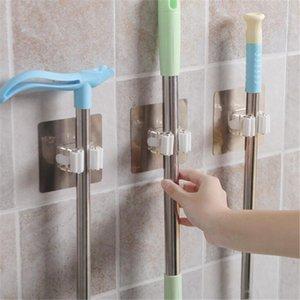 Ganchos rieles de pared azulejo pegado fregona organizador titular rack plástico montado cepillo swabber swob manija agarre la captura sosteniendo gancho