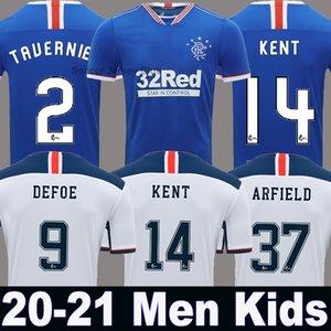 20 21 Tailândia Qualidade Glasgow Rangers FC Início Blue Guest Futebol 2020 2021 Rangers Longe Black Men + crianças kit de futebol camisa uniforme