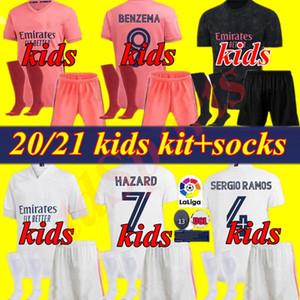 Kinder-Kit Uniformen 20 21 Real Madrid Fußball-Jersey-Jugend 2020 2021 SERGIO RAMOS GEFAHR JOVIC VINICIUS BENZEMA MODRIC Football-Shirts