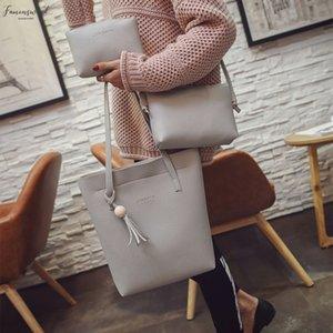 3 Piece Suit Fashion Women Tassels Leather Large Capacity Shoulder Bag Crossbody Bag Clutch Wallet Bag