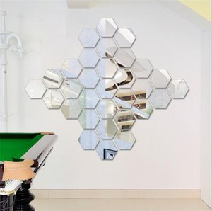 12pcs set Hexagonal Stereo Mirror Surface Acrylic Wall Sticker Auto-stick Removable Waterproof Wallpapers Home Décor Home & Garden HA1017