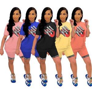 Women Clothing Summer Two Piece Set Short Sleeve T-Shirt+Shorts Letter Sports Suit Crew Neck Outfits Hot Sale Jogging Suit 3474