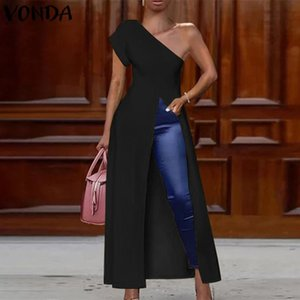 VONDA Off Shoulder Blouses Plus Size Women Tops Summer Party Shirts 2020 Female Sexy Split Hem Dress Casual Solid Tunic Blusa Y200622