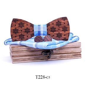 Christmas snowflake Wooden Bow tie Handkerchief Cufflinks Sets for Mens Wood Bowtie Purple Bow Tie Bowknots Cravat wood box