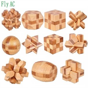 11 pcs set 3D handmade vintage Ming lock Luban lock wooden Bamboo toys adults puzzle children adult Birthday gift MX200414