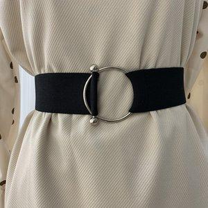 Fashion Simple Belt Lady Black Elastic Waist Belt Round Buckle Decoration Belts For Women Coat Sweater Dress Accessories