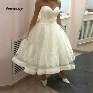 2020 Little Ball Gown Short Wedding Dresses Sweetheart Bridal Gowns Tea Length Lovely Vestido De Novia Robe Mariage
