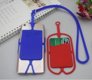Silicone Phone Lanyards Neck Strap Mobile Phone Case Silicone Insert Card Cover Necklace Sling Card Holder Straps Party Favor new GGA2762