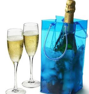 Vin Sac de glace PVC transparent durable Champagne vin de glace Sac pochette Sac isotherme avec poignée portable Effacer le stockage extérieur Coolin Sacs DHA329