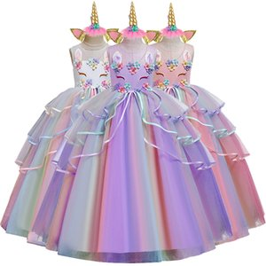 Send a Gift High-grade birthday evening party child wedding dress 4-14Y girls Embroidered applique unicorn long dress T200709