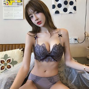 Top Sexy Deep V Underwear Set Women Lingerie Set Lace Push up Bra Panties Sets Y200708