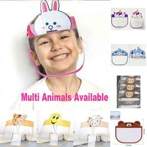 EU Stock Rosto máscara protetora protetor dos desenhos animados Crianças Anti respingo completa Crianças Poeira Saliva Transparente Head-montado Isolamento