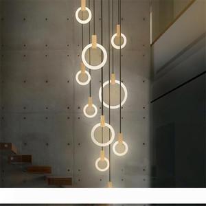 المعاصرة الخشب LED إضاءة الثريا الاكريليك خواتم بقيادة Droplighs درج الإضاءة 3 5 6 7 10 خواتم داخلي تركيبات الإضاءة