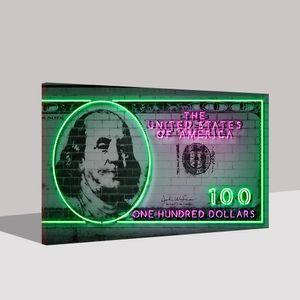 Modular Poster Moderne Neonlichter Printed Wand-Kunst Leinwand US Dollar Bild Benjamin Franklin Gemälde Wohnkultur Rahmen Büro