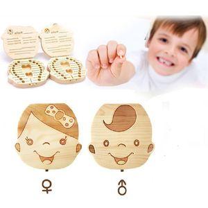 Bebek Kaydet Süt Dişler Erkekler Kızlar Ahşap Organizatör Saklama Kutuları Yaratıcı Hediye Keepsakes A122605 İspanyolca İngilizce İtalyanca Fransızca Diş Kutusu