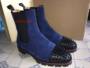 2019 New Quality Bottom Of The Tire Fashion Trend Men Boots Ankle Boot Suede With Red bottom Rivet Decorative Short Knight Boots