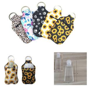 Desinfectante de neopreno sostenedor de botella llavero bolsos de mano portátil llavero 30ML soporte para botella de jabón para manos favor de partido DDA192 regalo
