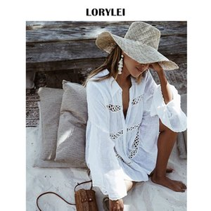 Sexy Hollow Out Turn Down Collar Button Front Open A Line Mini Dress For Women Summer Tunic Beach Wear Swim Suit Cover Up N429 Y200706
