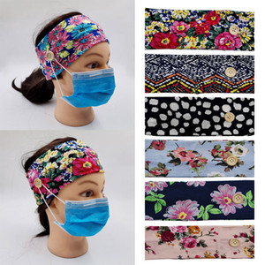 New Women Colorful print Elastic Headbands with Mask Adults Sports Yoga Exercise Soft Button Anti Ear Hair Band for Girls Accessories