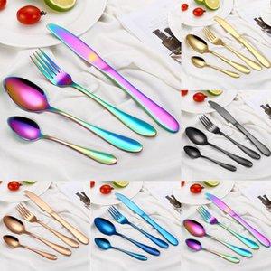 4 Piece Set Stainless Steel Rainbow Cutlery Set Western Food Cutlery Dinnerware Set Spoon Fork Knife Home Tableware Kit Wedding gift DHL