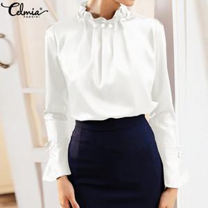 Мода Женская Элегантная атласная блузка Celmia Плюс Размер офиса Твердый шелк Длинные рукава Flare Blusa Вернуться Zip Tops рубашка Повседневный Tops 7