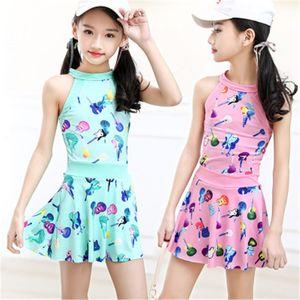 Coreano Swimsuit Para Meninas Childrens dividir um pedaço swimsuit para meninas Middle School meninas swimwear 2020