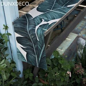 DUNXDECO Таблица Runner длинный стол оплетка Garden Party Tabelcloth Modern Green Leaf Свежее белье Хлопок Смешать Текстильный декор 3HYZ #